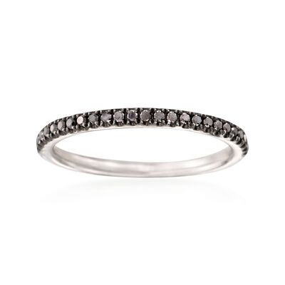 Henri Daussi .18 ct. t.w. Black Diamond Wedding Ring in 18kt White Gold, , default