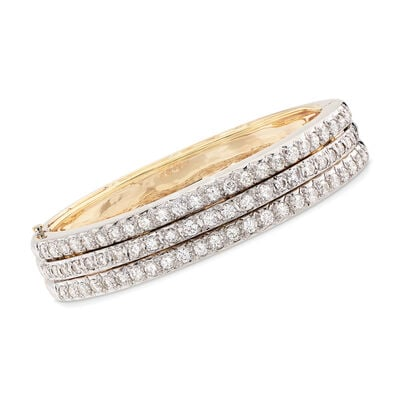 C. 1980 Vintage Hammerman Brothers 7.20 ct. t.w. Diamond Three-Row Bangle Bracelet in 14kt Gold