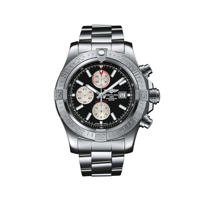 Breitling Super Avenger II Chronograph Men's 48mm Stainless Steel Watch - Black Dial, , default