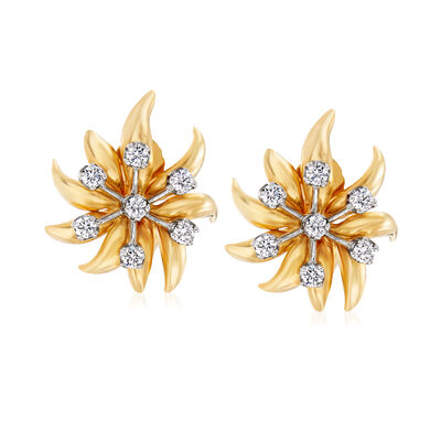 """C. 1980 Vintage Tiffany Jewelry """"Schlumberger"""" .70 ct. t.w. Diamond Flower Clip-On Earrings in Platinum and 18kt Yellow Gold, , default"""