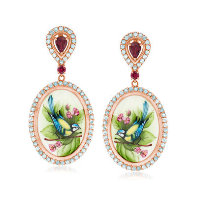 C. 1970 Vintage Painted Porcelain Bird Earrings with 3.75 ct. t.w. Garnet and Sky Blue Topaz in 14kt Rose Gold