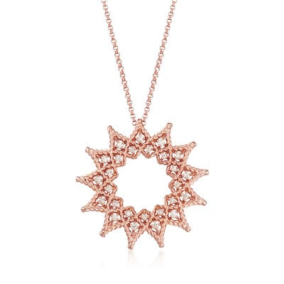 "Roberto Coin ""Roman Barocco"" .22 ct. t.w. Diamond Open Sun Necklace in 18kt Rose Gold, , default"