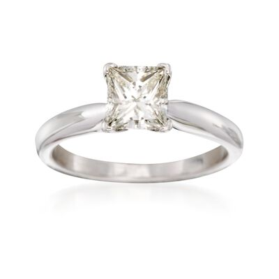 C. 2000 Vintage 1.00 Carat Princess-Cut Diamond Solitaire Engagement Ring in 14kt White Gold, , default