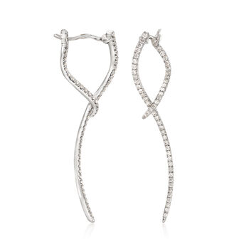 Gabriel Designs .47 ct. t.w. Diamond Double-Wave Drop Earrings in 14kt White Gold, , default