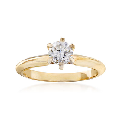 C. 1990 Vintage .60 Carat Diamond Ring in 14kt Yellow Gold, , default