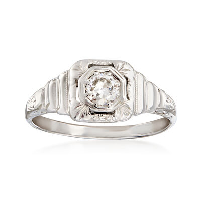 C. 1950 Vintage .33 Carat Diamond Filigree Ring in 14kt White Gold, , default