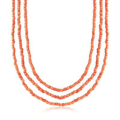 C. 1980 Vintage Endless Three-Tier Coral Beaded Necklace, , default