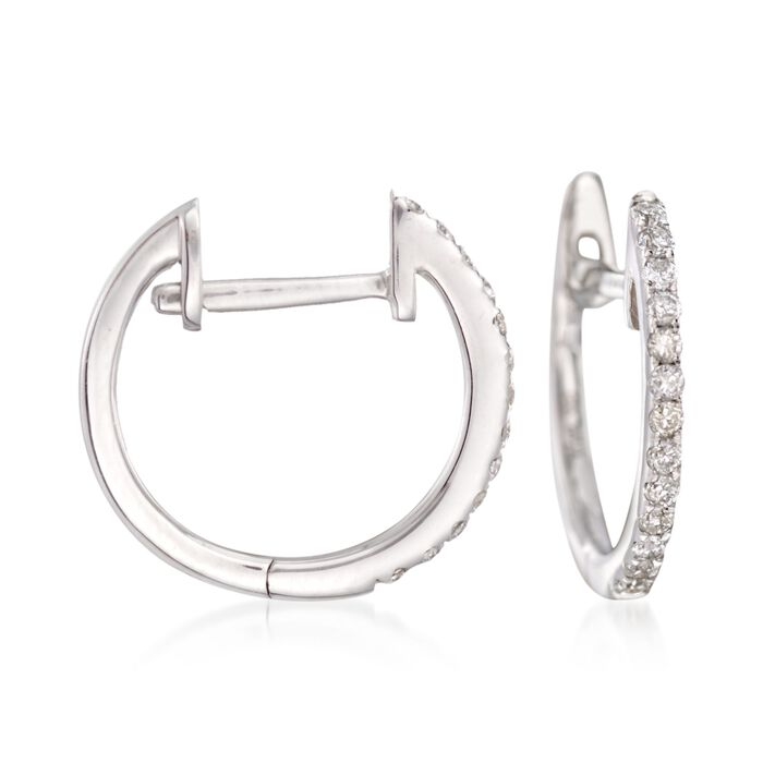 .12 Carat Total Weight Diamond Hoops in 14-Karat White Gold, , default