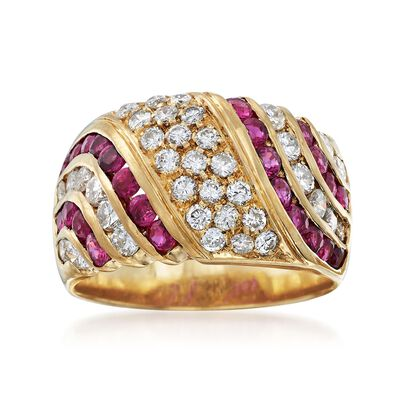 C. 1980 Vintage 1.10 ct. t.w. Ruby and 1.10 ct. t.w. Diamond Wide Ring in 18kt Yellow Gold, , default