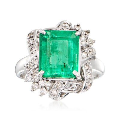 C. 2000 Vintage 4.70 Carat Certified Emerald Ring with .32 ct. t.w. Diamonds in Platinum