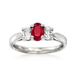 C. 1990 Vintage .55 Carat Ruby and .55 ct. t.w. Diamond Three-Stone Ring in Platinum, , default