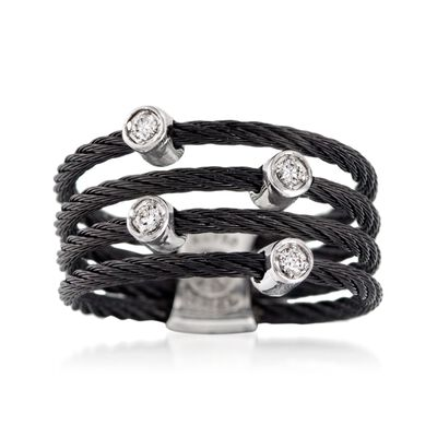 "ALOR ""Noir"" Black Stainless Steel Cable Ring with Diamond Stations and 18kt White Gold"