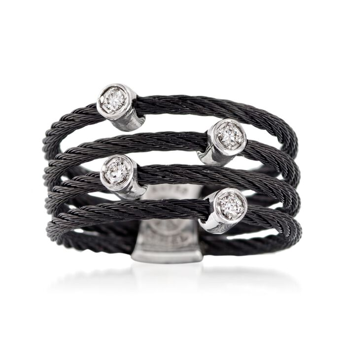 ALOR Noir Black Multi-Cable Band with 18kt White Gold and Diamond Accents. Size 7, , default