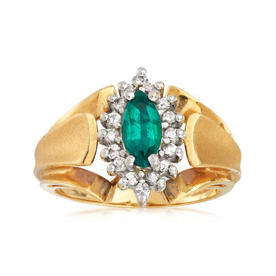 C. 1980 Vintage .35 Carat Synthetic Emerald and .25 ct. t.w. Diamond Ring in 14kt Yellow Gold