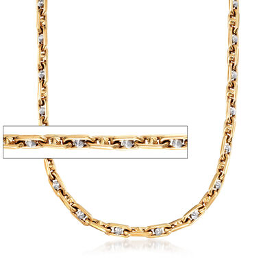 Men's 14kt Two-Tone Gold Oval Chain Link Necklace
