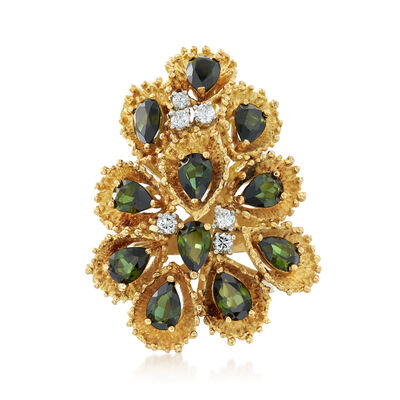 C. 1970 Vintage 5.30 ct. t.w. Green Tourmaline and .30 ct. t.w. Diamond Cluster Ring in 18kt Yellow Gold, , default