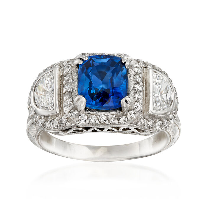 C. 1990 Vintage 1.70 Carat Sapphire and 1.00 ct. t.w. Diamond Ring in 14kt White Gold