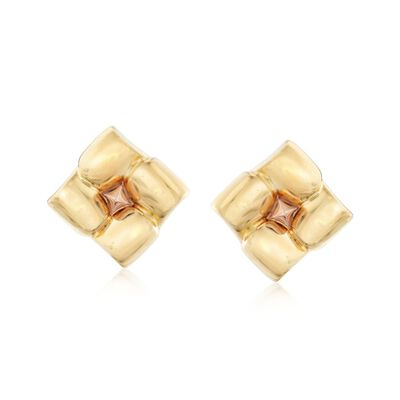 C. 1980 Vintage 18kt Two-Tone Gold Square Floral Earrings, , default