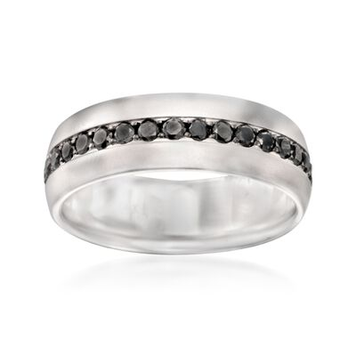 Henri Daussi Men's 1.15 ct. t.w. Black Diamond Wedding Ring in 14kt White Gold, , default