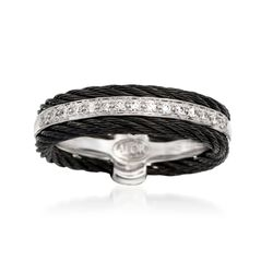 "ALOR ""Noir"" .12 ct. t.w. Diamond Black Cable Ring With 18kt White Gold, , default"