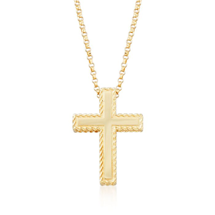 "Roberto Coin Princess 18-Karat Yellow Gold Cross Necklace. 16.75"", , default"