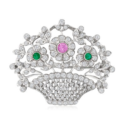 C. 1990 Vintage 2.50 ct. t.w. Diamond, .30 Carat Pink Sapphire and .25 ct. t.w. Emerald Flower Basket Pin in 18kt White Gold