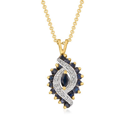 C. 1980 Vintage 1.00 ct. t.w. Sapphire Pendant Necklace with Diamond Accents in 10kt and 14kt Yellow Gold