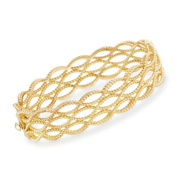 "Roberto Coin Barocco 18-Karat Yellow Gold Triple Braid Bangle. 7"", , default"