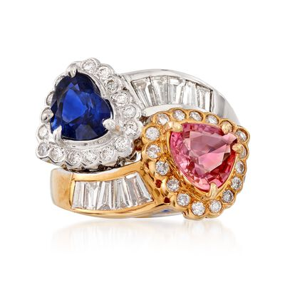 C. 1990 Vintage 1.65 ct. t.w. Pink and Blue Sapphire and 1.25 ct. t.w. Diamond Ring in 18kt Two-Tone Gold