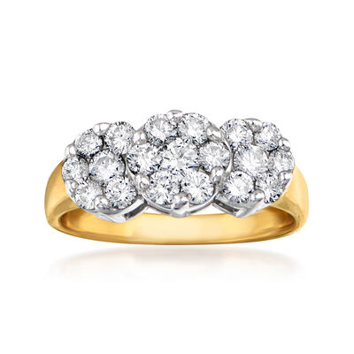C. 1990 Vintage 1.00 ct. t.w. Diamond Triple- Cluster Ring in 14kt Two-Tone Gold