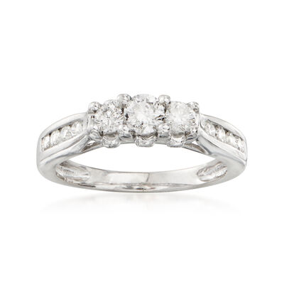 C. 1990 Vintage .50 ct. t.w. Three-Stone Diamond Ring in 14kt White Gold