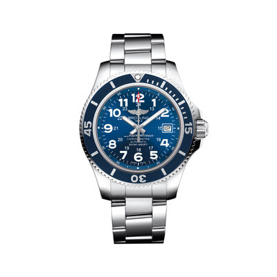 Breitling Superocean II Men's 42mm Stainless Steel Watch - Blue Dial, , default
