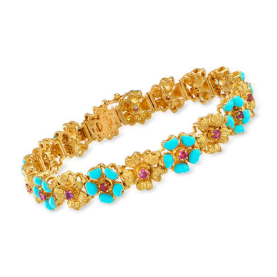 C. 1990 Vintage 1.40 ct. t.w. Ruby and Blue Enamel Flower Bracelet in 18kt Yellow Gold
