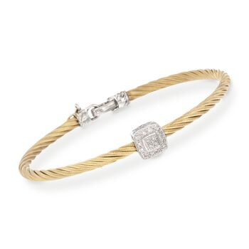 """ALOR Diamond Square Station Bracelet in 18-Karat White Gold and Yellow Stainless Steel. 7"""", , default"""