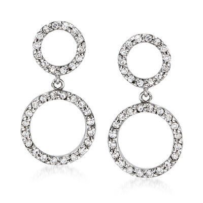 C. 1990 Vintage .35 ct. t.w. Diamond Circle Drop Earrings in 14kt White Gold, , default
