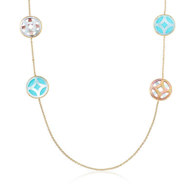 "C. 2000 Vintage Ippolita ""Rock Candy"" Turquoise and Mother-Of-Pearl Necklace in 18kt Yellow Gold, , default"