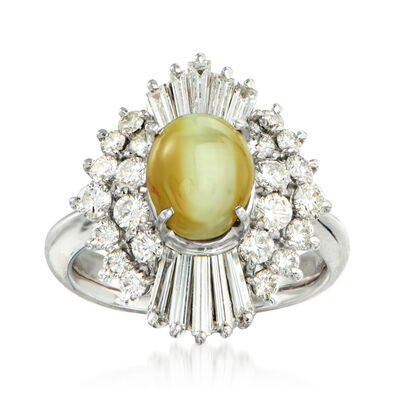 C. 1980 Vintage Cat's Eye Green Chrysoberyl and 1.36 ct. t.w. Diamond Ring in Platinum