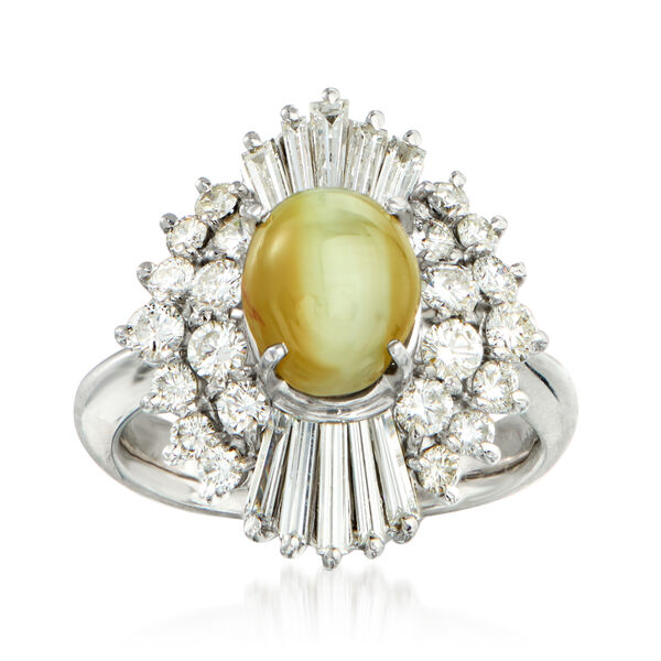 C. 1980 Vintage Cat's Eye Green Chrysoberyl and 1.36 ct. t.w. Diamond Ring in Platinum #934653