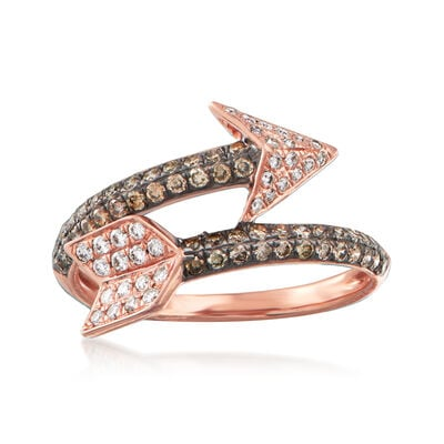 C. 1990 Vintage Effy .75 ct. t.w. Brown and White Diamond Arrow Ring in 14kt Rose Gold