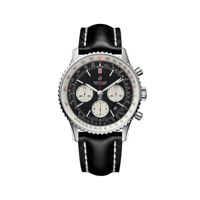 Breitling Navitimer 01 Chronograph Men's 43mm Stainless Steel Watch - Black Leather Strap, , default