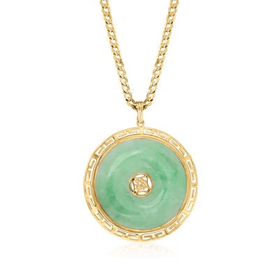 C. 1980 Vintage Jade Pendant Necklace in 14kt Yellow Gold