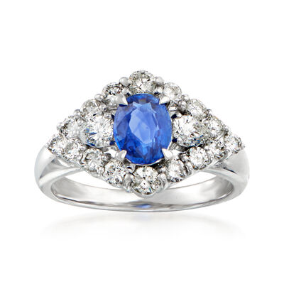 C. 1990 Vintage 1.30 Carat Sapphire and 1.40 ct. t.w. Diamond Ring in Platinum