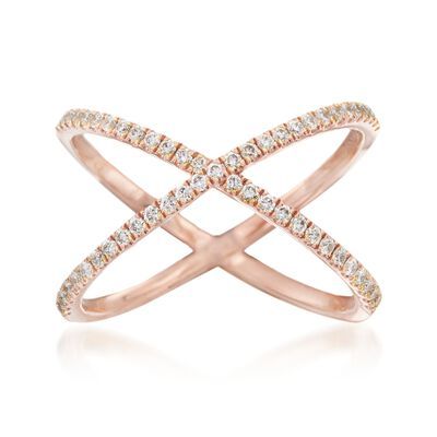 Henri Daussi .28 ct. t.w. Diamond Crisscross Ring in 18kt Rose Gold, , default