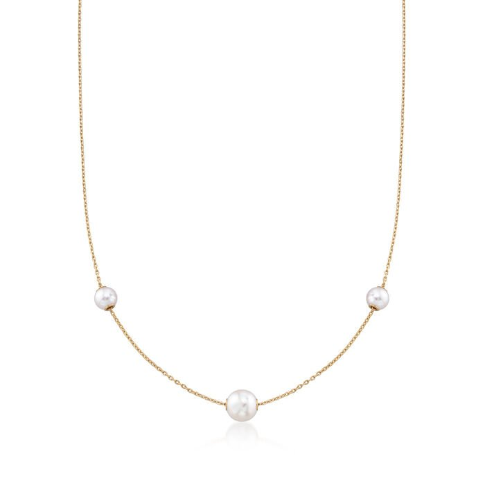 Mikimoto 5.5.-7.5mm A+ Akoya Pearl Necklace in 18kt Yellow Gold