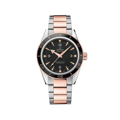 Omega Seamaster Men's 41mm Stainless Steel and 18kt Rose Gold Watch with Black Dial