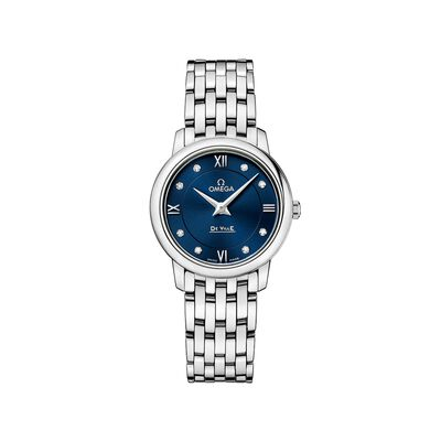 Omega De Ville Prestige 27.4mm Stainless Steel Watch with Diamonds and Blue Dial