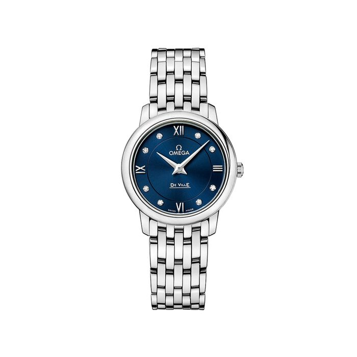 Omega De Ville Prestige 27.4mm Women's Stainless Steel Watch with Diamonds - Blue Dial, , default