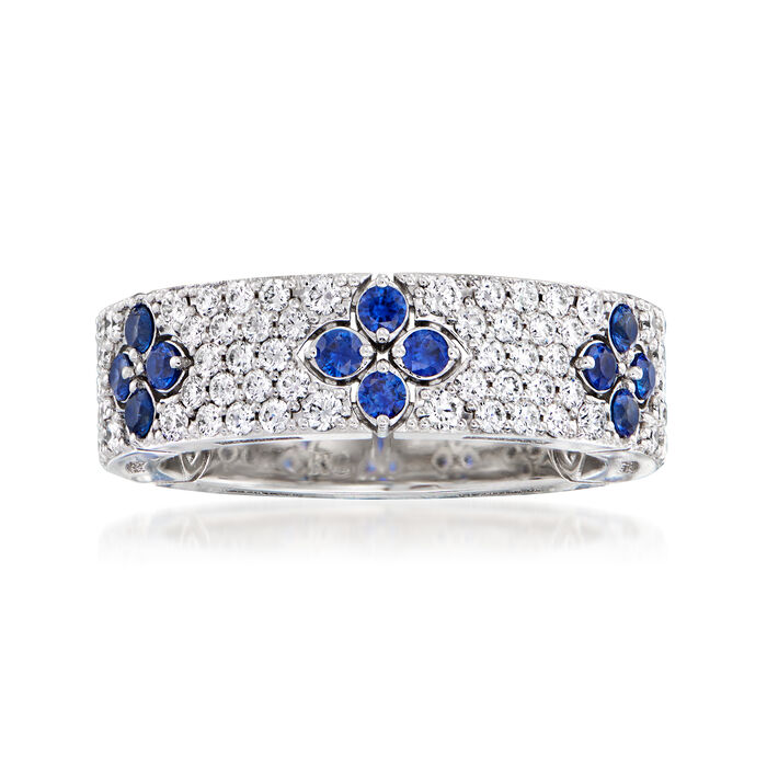 Roberto Coin .93 ct. t.w. Diamond and .57 ct. t.w. Sapphire Ring in 18kt White Gold