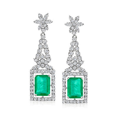 3.30 ct. t.w. Emerald and 1.30 ct. t.w. Diamond Floral Drop Earrings in 14kt White Gold