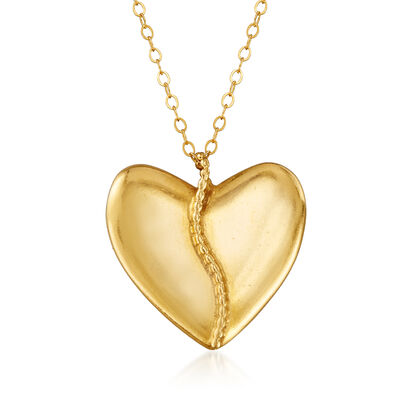 C. 1990 Vintage Heart Pendant Necklace in 18kt and 14kt Yellow Gold, , default